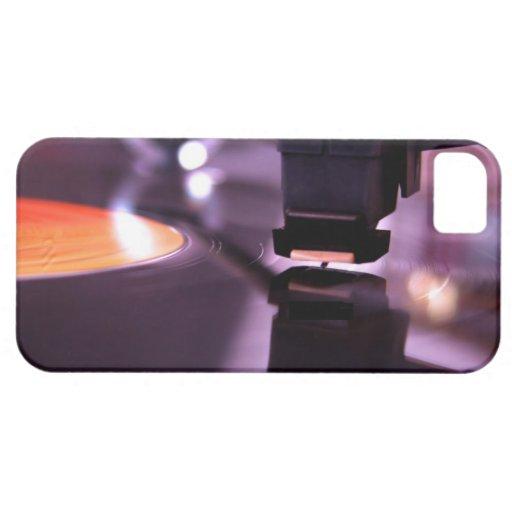 Orange Vinyl Record with cool purple background iPhone 5 Cases