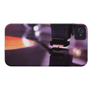 Orange Vinyl Record with cool purple background iPhone 4 Case-Mate Cases
