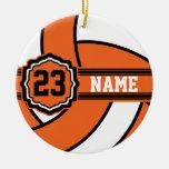 Orange Volleyball Christmas Ornament