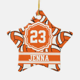 Orange Volleyball | Personalize Double-Sided Star Ceramic Christmas Ornament