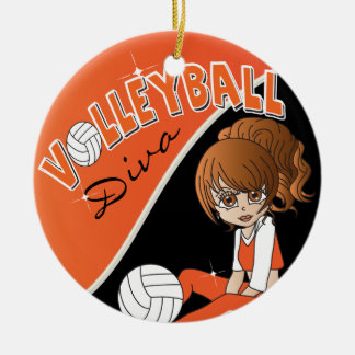 Orange Volleyball Player Diva Girl Ceramic Ornament