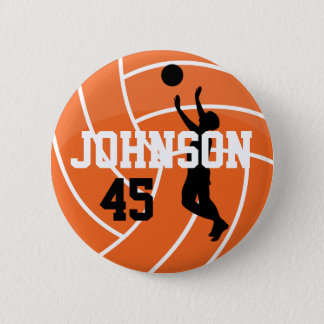 Orange Volleyball with Silhouette Player Pinback Button