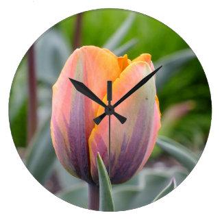 Orange w/Purple Flames Tulips Wall Clock