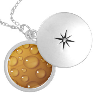Orange Water Drop Texture Locket Necklace