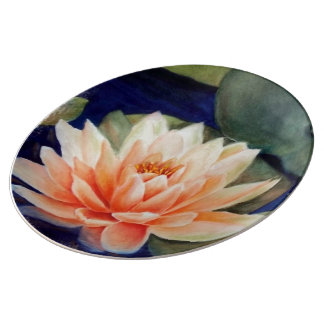 ORANGE WATER LILY WALL PLATE PORCELAIN PLATES