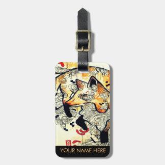 Orange watercolor art fox illustration drawing bag tag