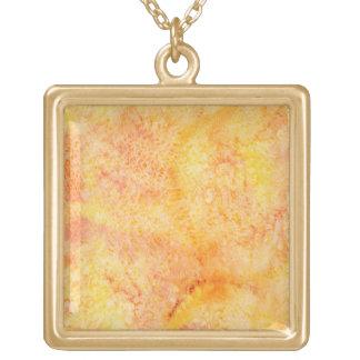 Orange Watercolor Background Square Pendant Necklace
