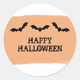 Orange Watercolor Bats Halloween Stickers