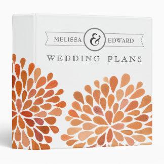 Orange Watercolor Dahlias Wedding Planner Binder