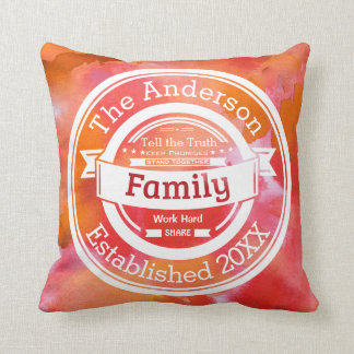 Outdoor Pillows Orange Watercolor Family Rules, Name Year Throw Pillow
