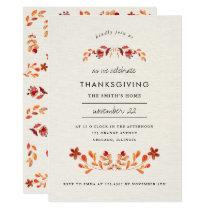 Orange Watercolor Floral Thanksgiving Party Invitation
