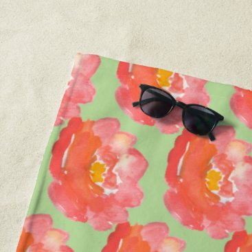 Beach Themed Orange Watercolor Flowers Beach Towel