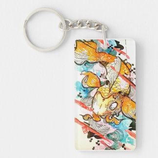 Orange watercolor Japanese Koi Fish Keychain