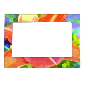 Orange Watercolor Lily Magnetic Photo Frame