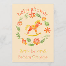 Orange Watercolor Rocking Horse Baby Shower Invitation