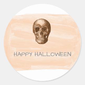 Orange Watercolor Skull Halloween Stickers