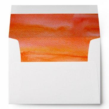 Beach Themed orange watercolor swash beach wedding envelope