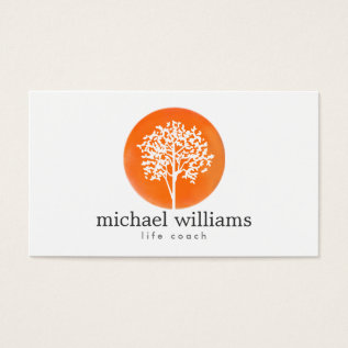Orange Watercolor Tree Life Coach, Counselors Business Card at Zazzle