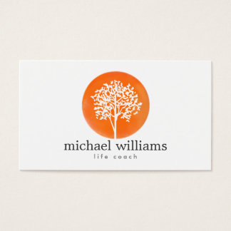 Orange Watercolor Tree Life Coach, Counselors Business Card