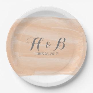 Orange Watercolor Wedding Paper Plates 9 Inch Paper Plate