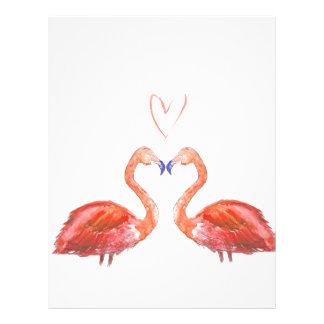 Orange watercolour flamingos with love heart letterhead