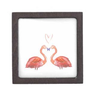 Orange watercolour flamingos with love heart premium jewelry box