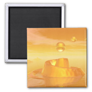 Orange Waters 2 Inch Square Magnet