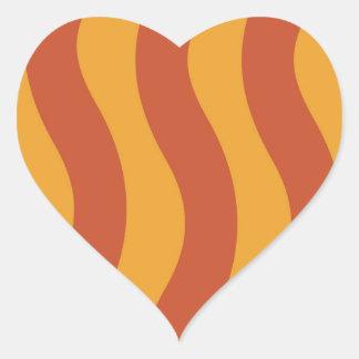 Orange Wave Stripes Heart Sticker