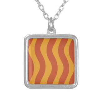 Orange Wave Stripes Silver Plated Necklace