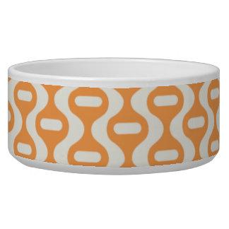 Orange Wavy Retro Pattern Dog Food Bowl