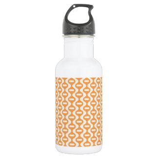 Orange Wavy Retro Pattern Water Bottle