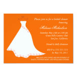 Orange Wedding Gown Bridal Shower Invitation