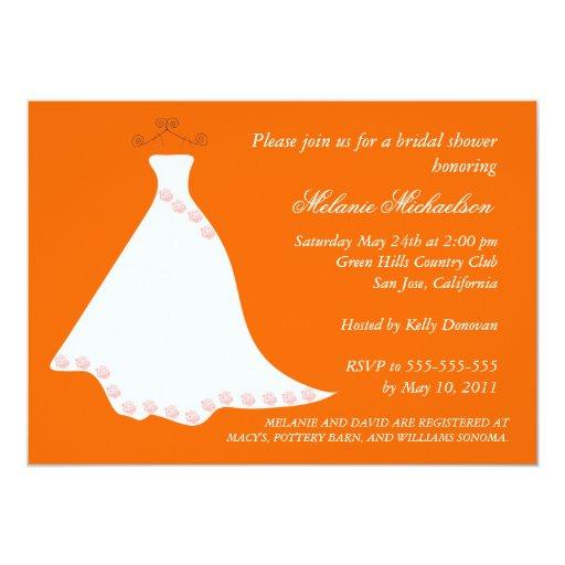 Orange Wedding Gown Bridal Shower Invitation Zazzle