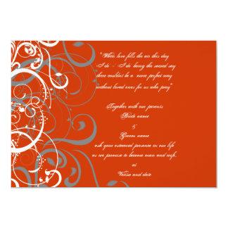 "Orange wedding invitation 5"" x 7"" invitation card"