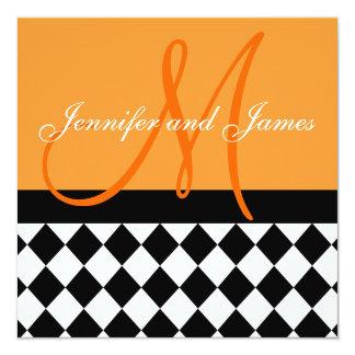 Orange Wedding Invitation Monogram Harlequin