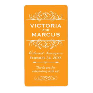 Orange Wedding Wine Bottle Monogram Favor Labels