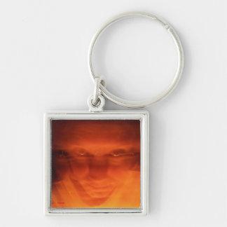 Orange weird face, eyes looking up keychain