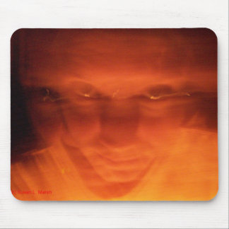 Orange weird face eyes looking up mouse pad