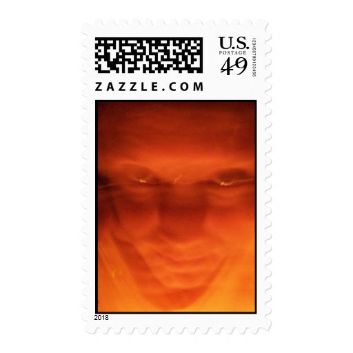 Orange weird face, eyes looking up postage stamps