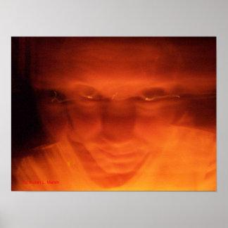 Orange weird face, eyes looking up poster