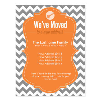 Orange We've Moved Change of Address Postcards