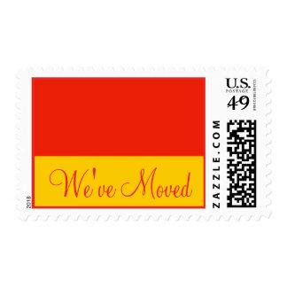 orange We've Moved Stamps