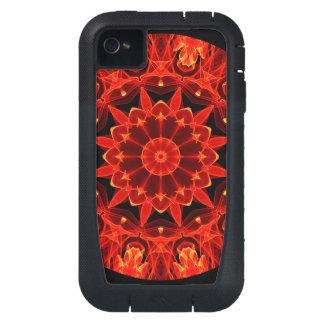 Orange Wheel of Fire Mandala, Abstract Lace iPhone4 Case