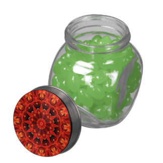 Orange Wheel of Fire Mandala, Abstract Lace Jelly Belly Candy Jars