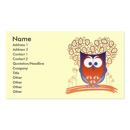 Orange whimsical cute owl custom business card zazzle for Owl business cards