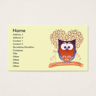 Orange Whimsical Cute Owl Custom Business card