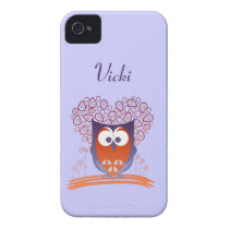 Orange Whimsical Cute Owl Custom iPhone 4 Case