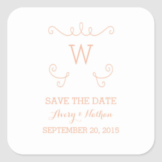Orange Whimsical Flourish Save the Date Stickers