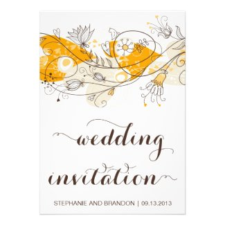 Orange Whimsical Hearts Flowers Wedding Invitation