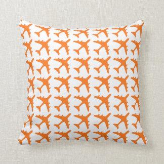 Orange white airplane pattern decorative pillow